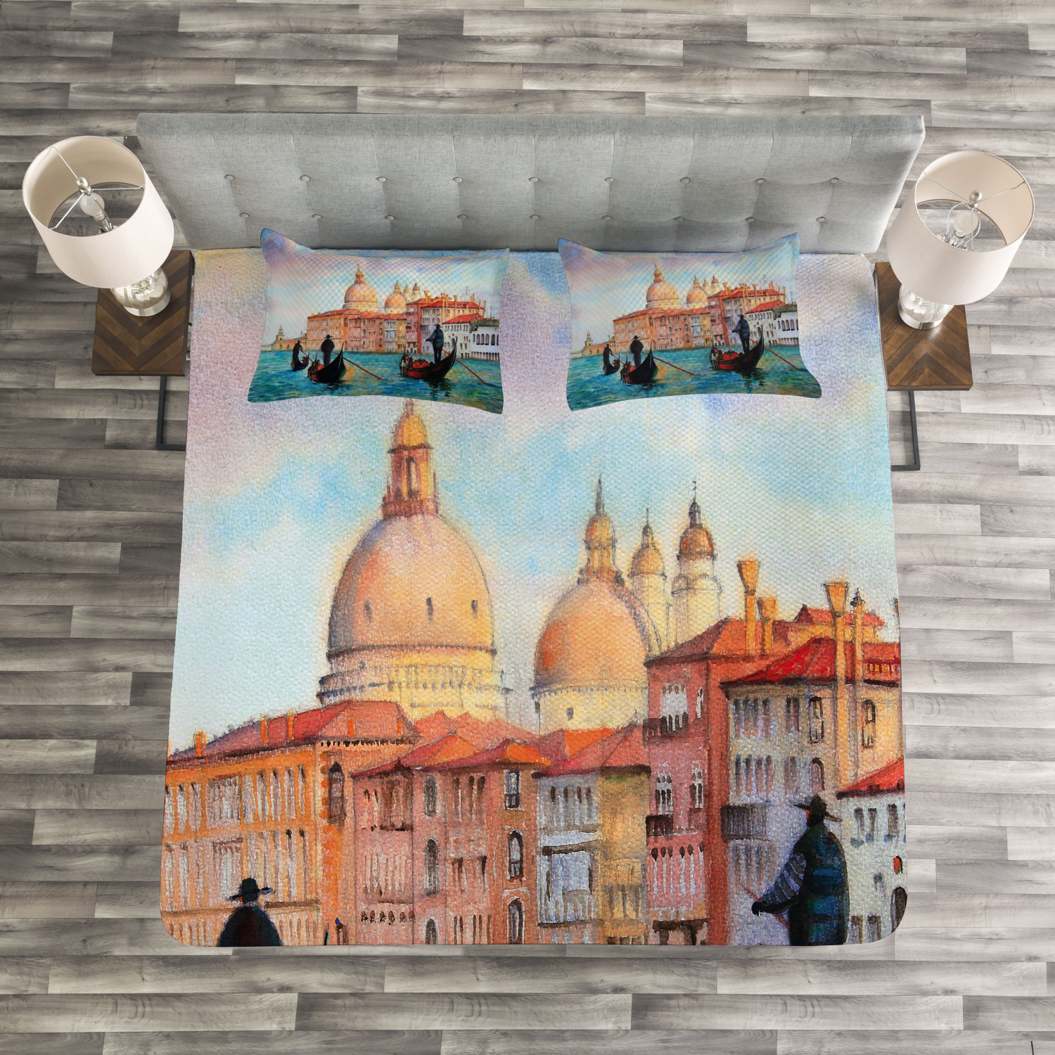 Venice Quilted Bedspread & Pillow Shams Set, Watercolor Serene City Print