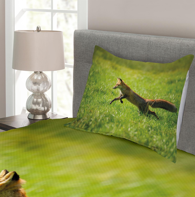 Fox Tagesdecke und Kissenbezüge Set Jumping Animal Animal Animal Fresh Grass Druck d2706e