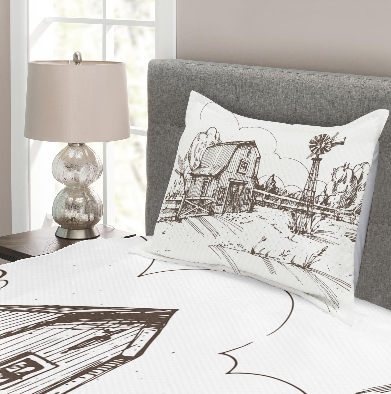miniature 3 - Windmill Quilted Bedspread & Pillow Shams Set, Rustic Farmhouse Barn Print