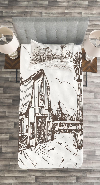 miniature 4 - Windmill Quilted Bedspread & Pillow Shams Set, Rustic Farmhouse Barn Print
