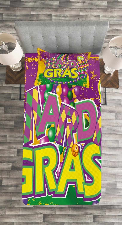 Mardi Gras Tagesdecke und und und Kissenbezüge Set Grunge Beads Letters Druck 64178a