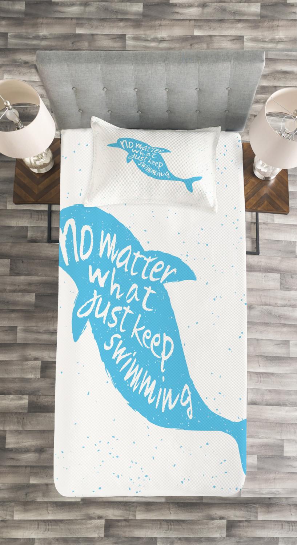 Dolphin Tagesdecke und Kissenbezüge Set Hand Hand Hand Drawn Sea Mammal Druck 080a17