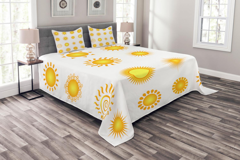 Gelb und Weiß Tagesdecke und Kissenbezüge Set, Sunny Sommer Druck