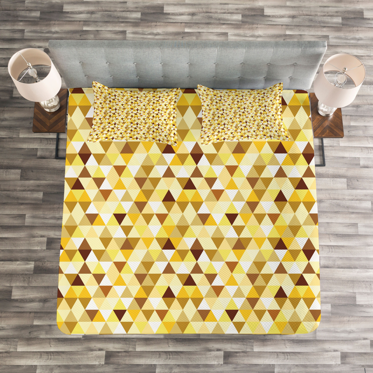 Geometric Quilted Bedspread & Pillow Shams Set, Funky Vivid Triangles Print