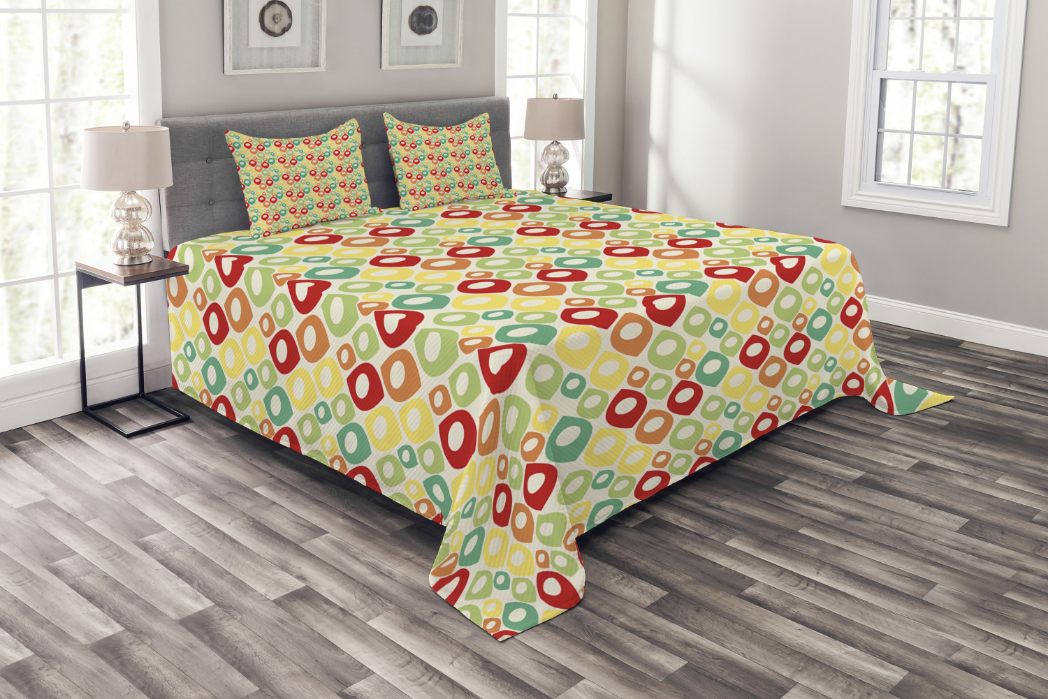 Abstract Quilted Bedspread Pillow Shams Set Geometrical Shapes - Geometrical-shapes-on-bedding
