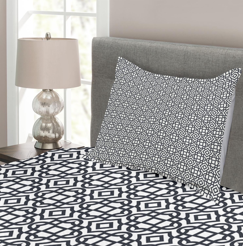 Geometric-Quilted-Bedspread-amp-Pillow-Shams-Set-Vintage-Jacquard-Print thumbnail 3