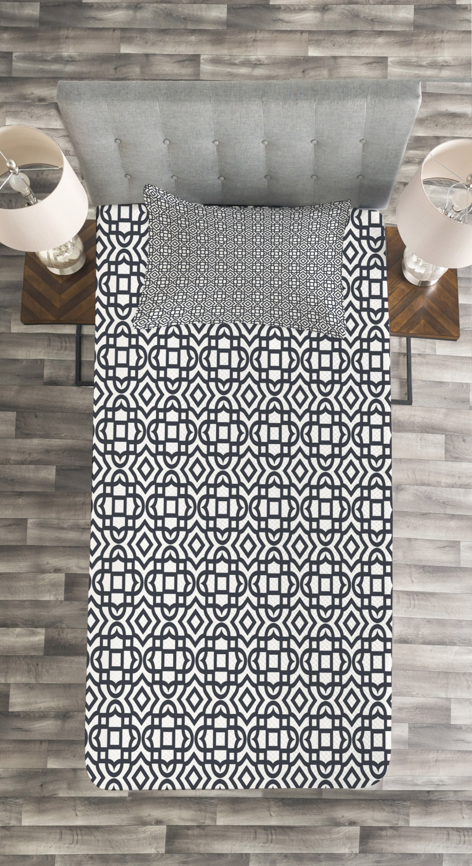 Geometric-Quilted-Bedspread-amp-Pillow-Shams-Set-Vintage-Jacquard-Print thumbnail 4
