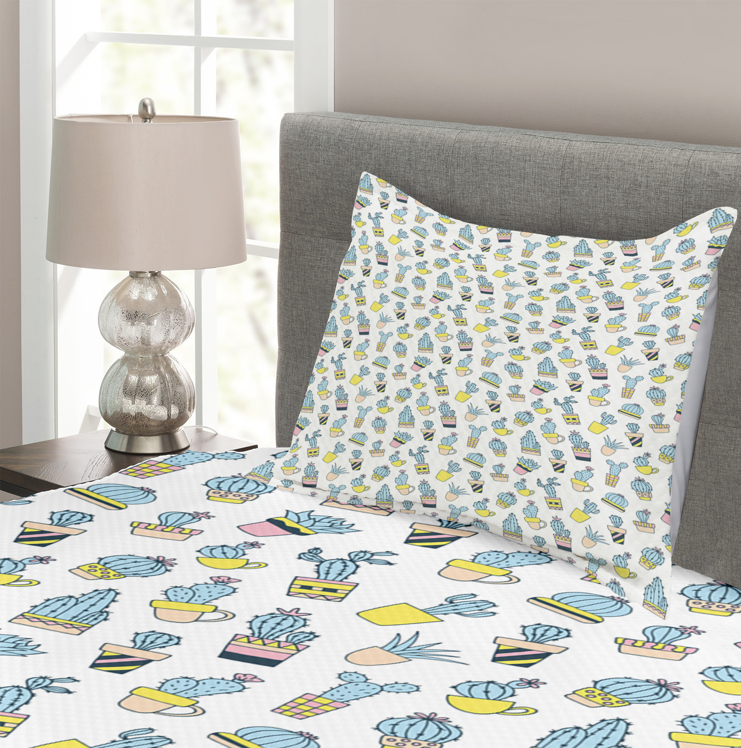 Cactus Quilted Bedspread Amp Pillow Shams Set Hand