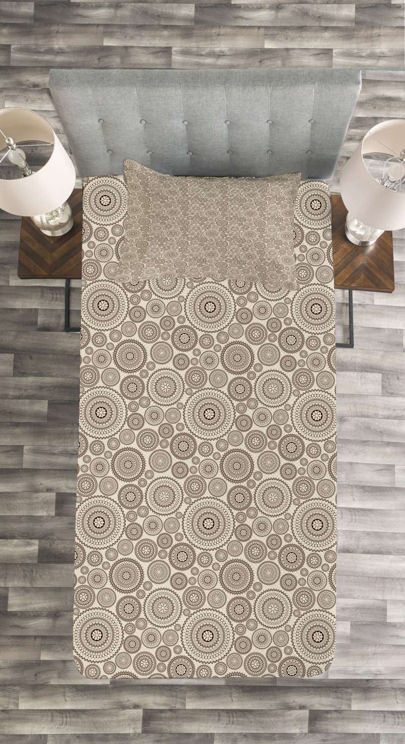 Beige-Quilted-Bedspread-amp-Pillow-Shams-Set-Circular-Composition-Lace-Print thumbnail 4