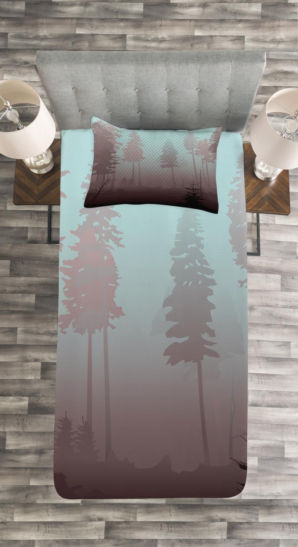 Forest Tagesdecke und Kissenbezüge Set European Foliage Foliage Foliage Design Druck 9ed237