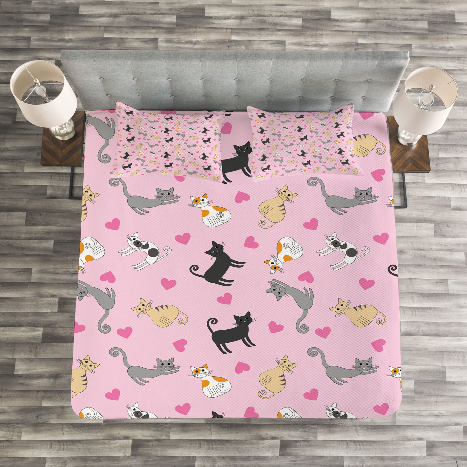 Kitty Quilted Bedspread & Pillow Shams Set, colorful Different Cats Print