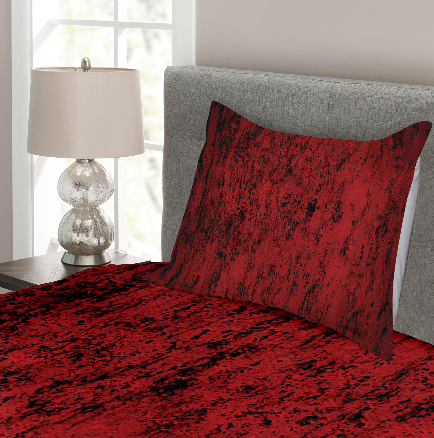 Red Black Quilted Bedspread /& Pillow Shams Set Tourist Poker Cards Print