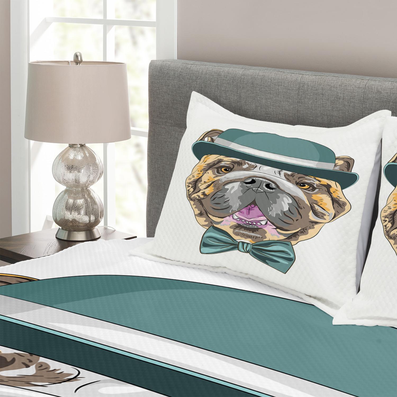 English Bulldog Tagesdecke und und und Kissenbezüge Set Dog in a Hat Druck 000ccf