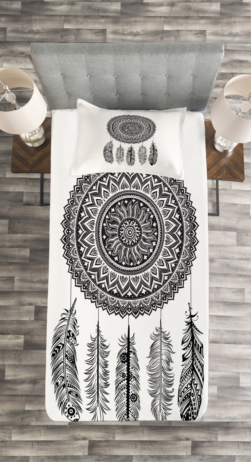 Feather Feather Feather Tagesdecke und Kissenbezüge Set Aztec Dream Catcher Druck 917c4b