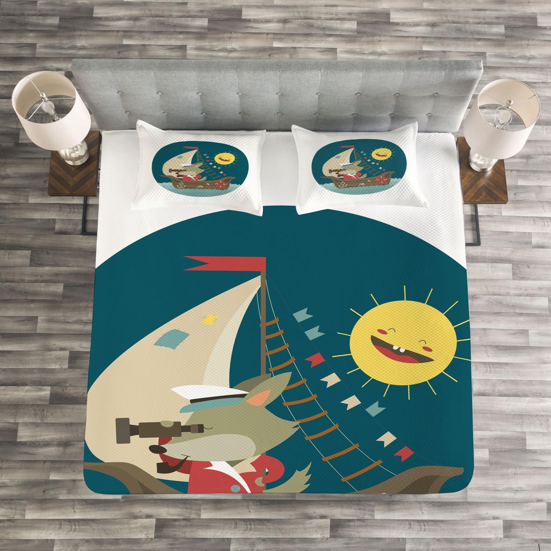 Nursery Tagesdecke und Kissenbezüge Set Set Set Wolf Captain Boat Druck 552787