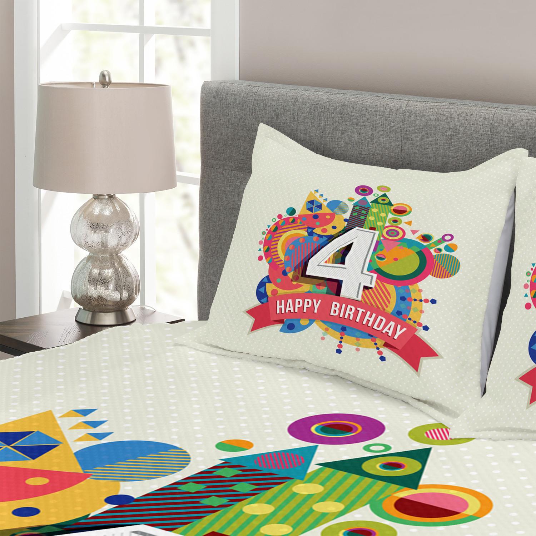 Number Tagesdecke und Kissenbezüge Set Set Set Four Years Old Farbeful Druck 42689a