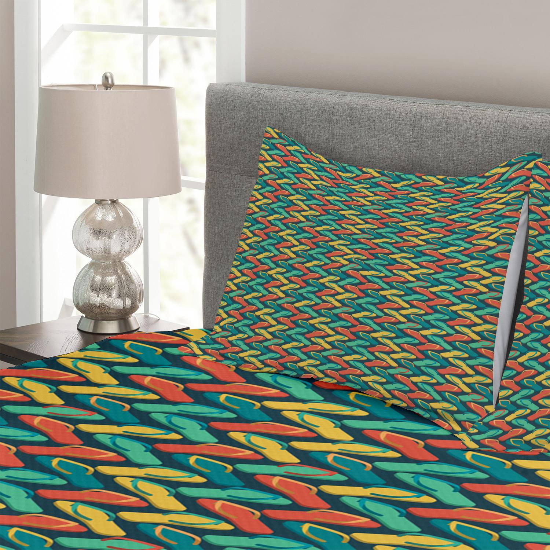 Flip Flop Tagesdecke Tagesdecke Tagesdecke und Kissenbezüge Set Zigzag Design Slipper Druck 76077d