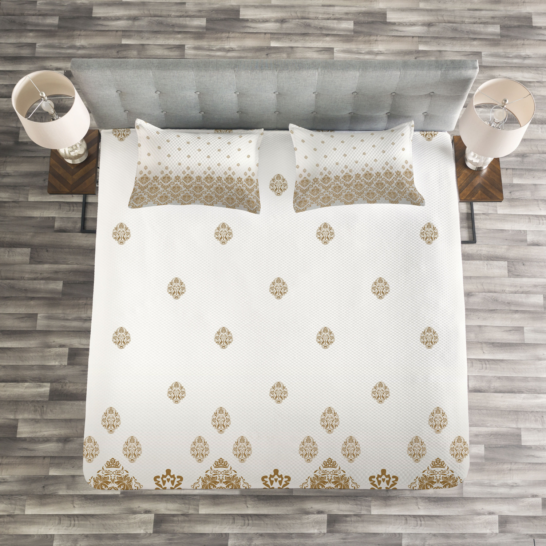 Victorian Quilted Bedspread & Pillow Shams Set, Vintage Romantic Art Print