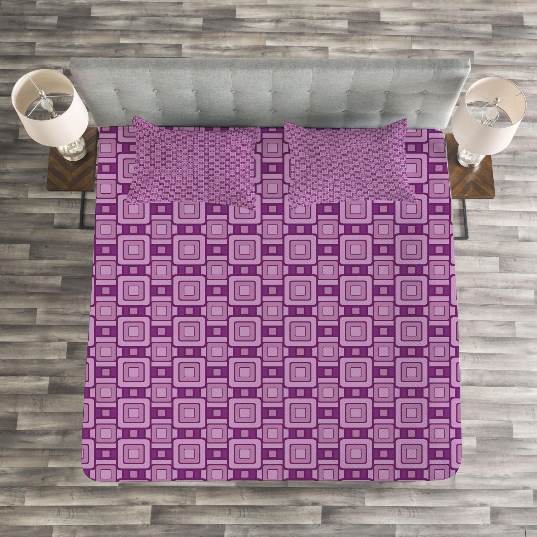 Lilac Tagesdecke Tagesdecke Tagesdecke und Kissenbezüge Set Retro Geometric Tile Druck 34369a