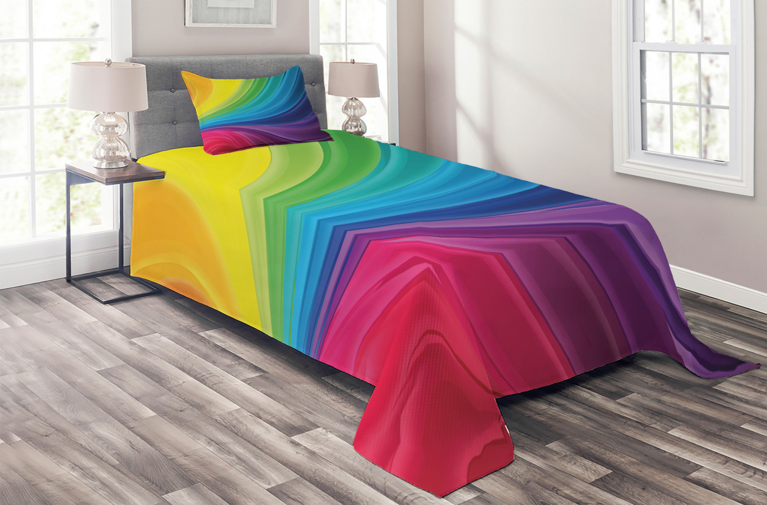 Colorful-Quilted-Coverlet-amp-Pillow-Shams-Set-Abstract-Smooth-Lines-Print thumbnail 2