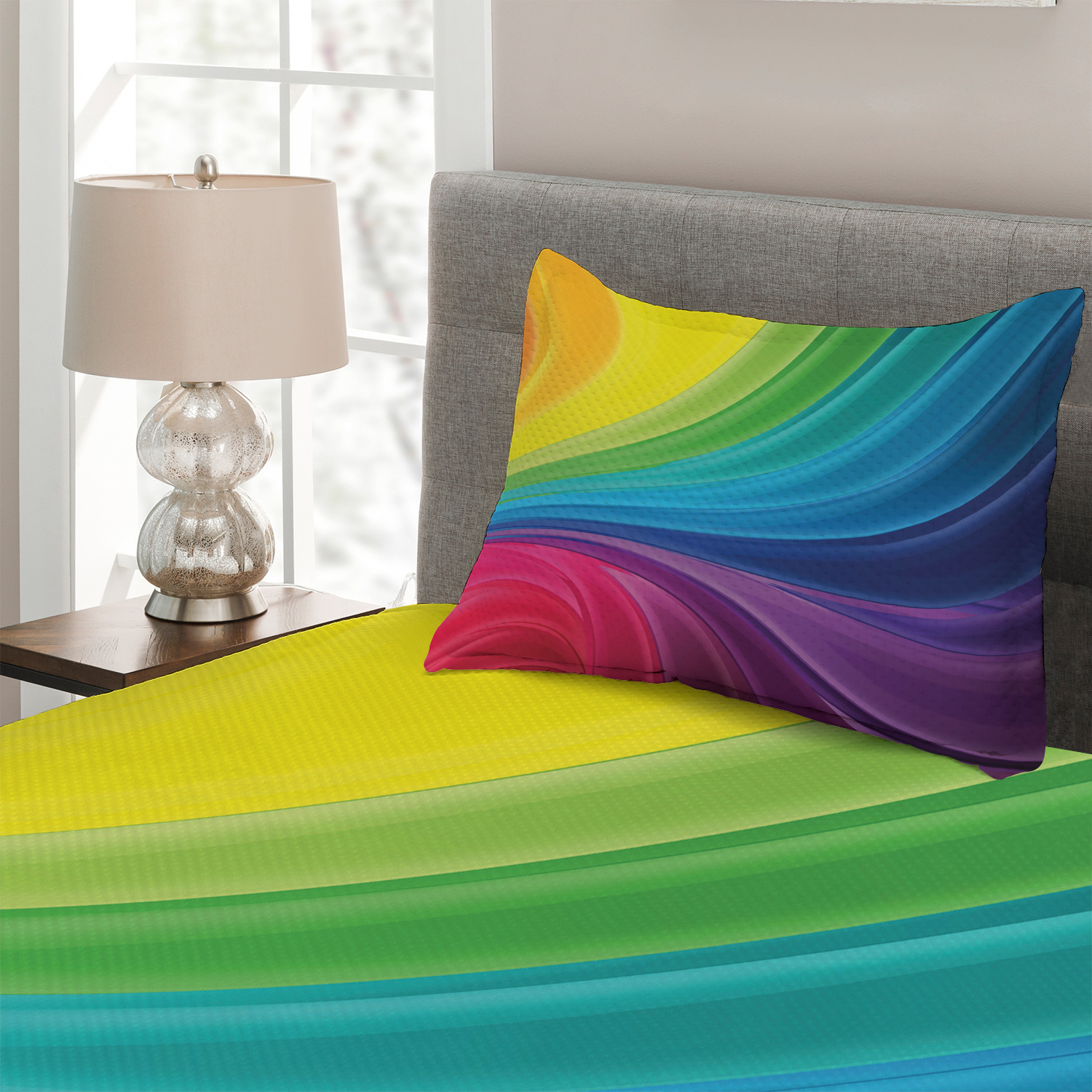 Colorful-Quilted-Coverlet-amp-Pillow-Shams-Set-Abstract-Smooth-Lines-Print thumbnail 3
