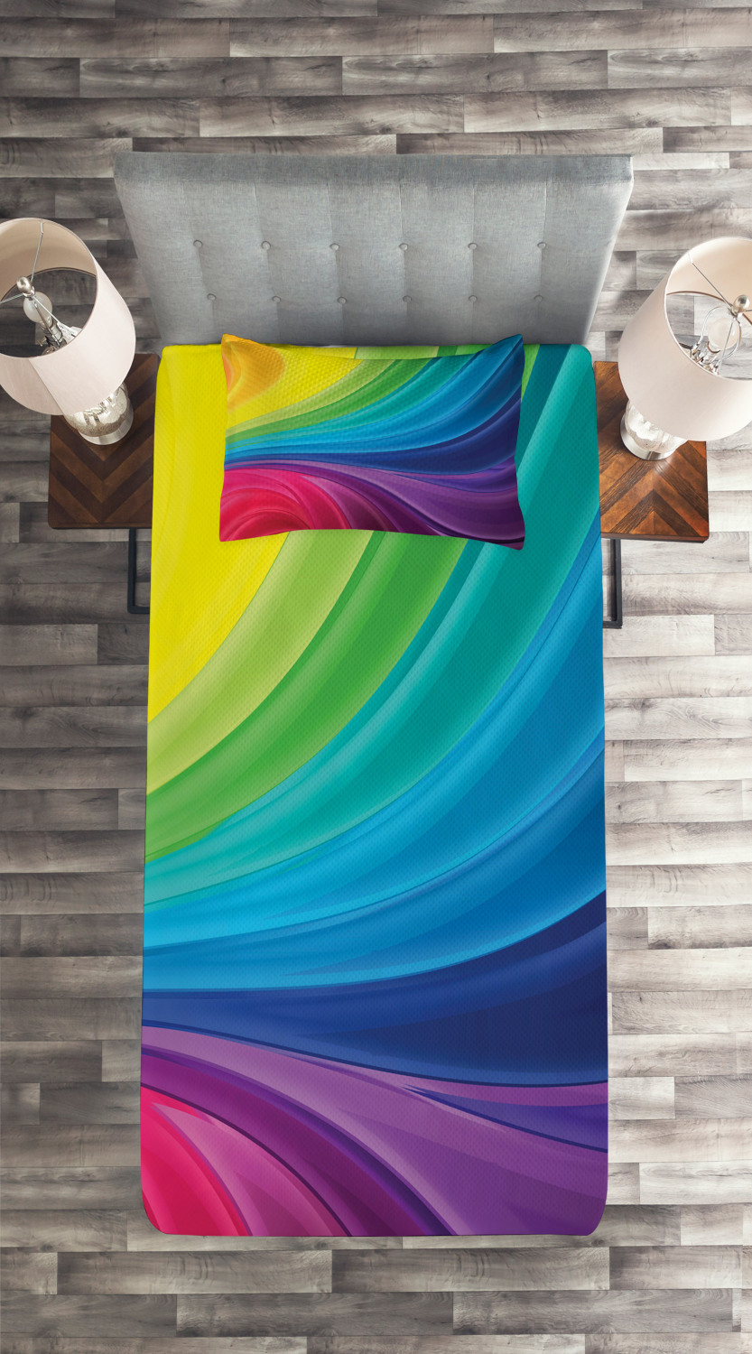 Colorful-Quilted-Coverlet-amp-Pillow-Shams-Set-Abstract-Smooth-Lines-Print thumbnail 4
