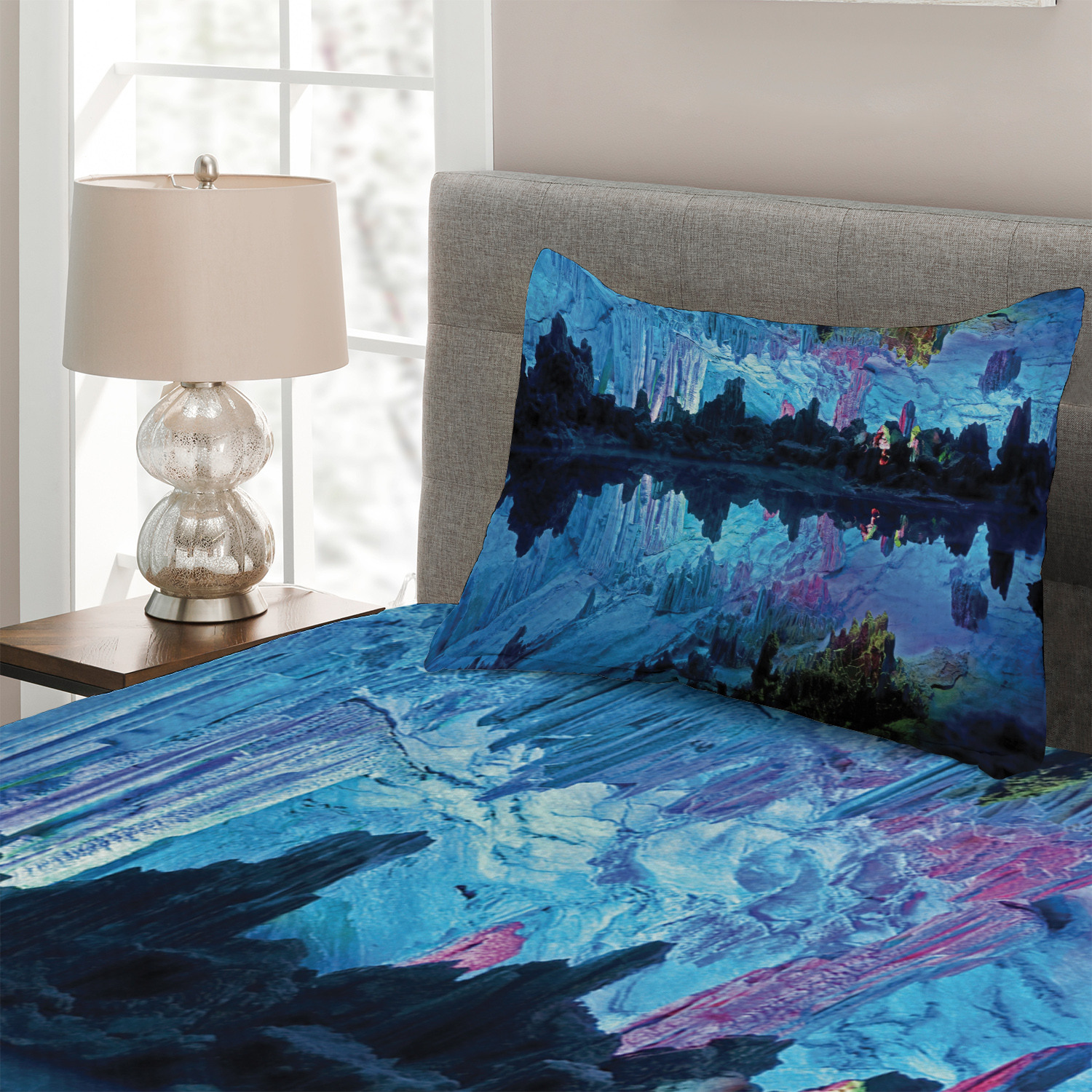 Blue-Quilted-Coverlet-amp-Pillow-Shams-Set-Reed-Cistern-Cave-Print miniatuur 3