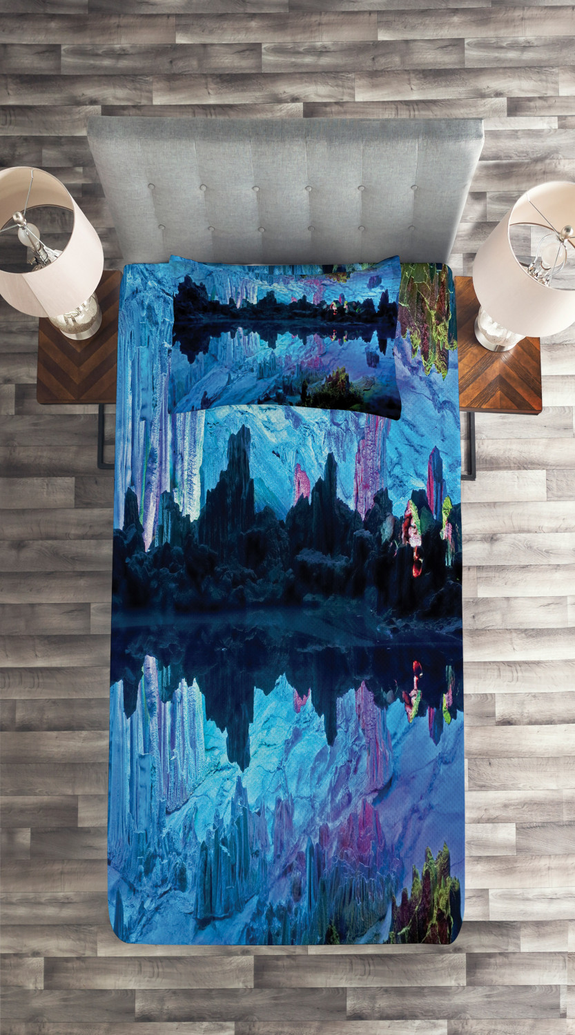 Blue-Quilted-Coverlet-amp-Pillow-Shams-Set-Reed-Cistern-Cave-Print miniatuur 4