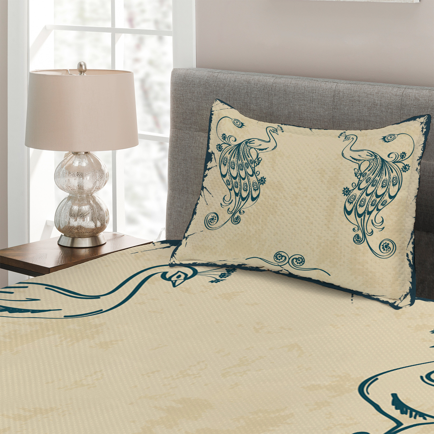 Beige-Teal-Quilted-Coverlet-amp-Pillow-Shams-Set-Vintage-Peacock-Bird-Print thumbnail 3
