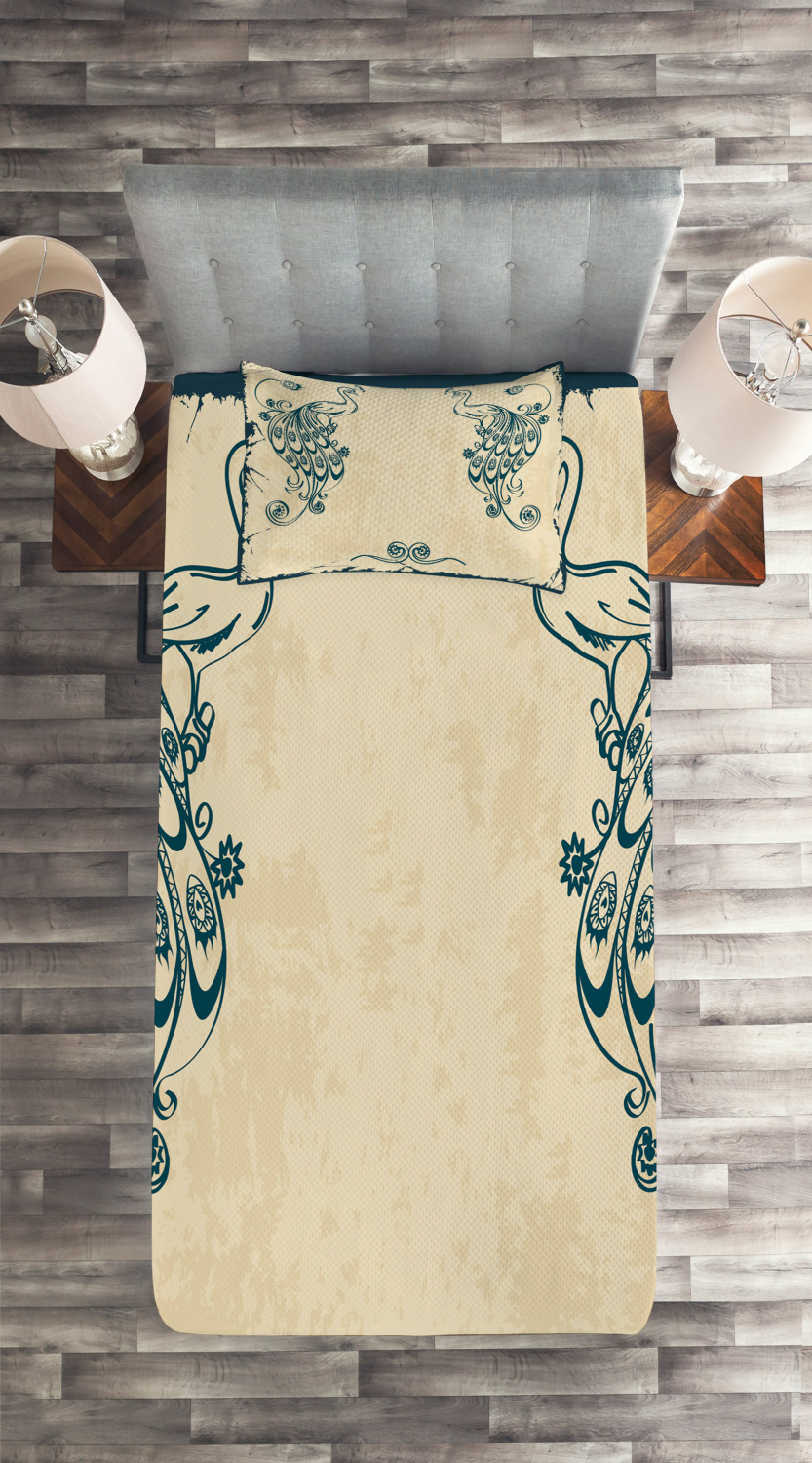 Beige-Teal-Quilted-Coverlet-amp-Pillow-Shams-Set-Vintage-Peacock-Bird-Print thumbnail 4