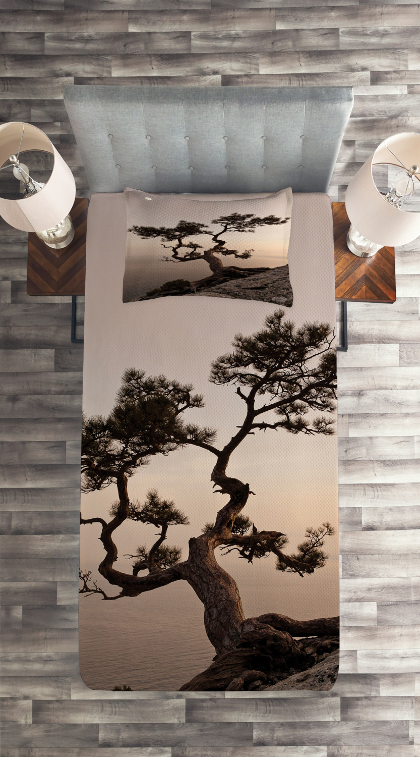 Tree Quilted Coverlet & Pillow Shams Set, Lonely Juniper Tree Tree Tree Fall Print f9ce4a