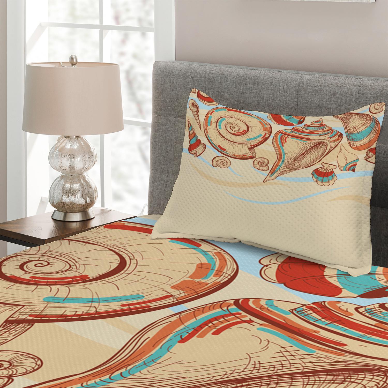Ocean Quilted Coverlet & Pillow Shams Set, Seashells Pastel Pastel Pastel Colorosso Print e6c10f