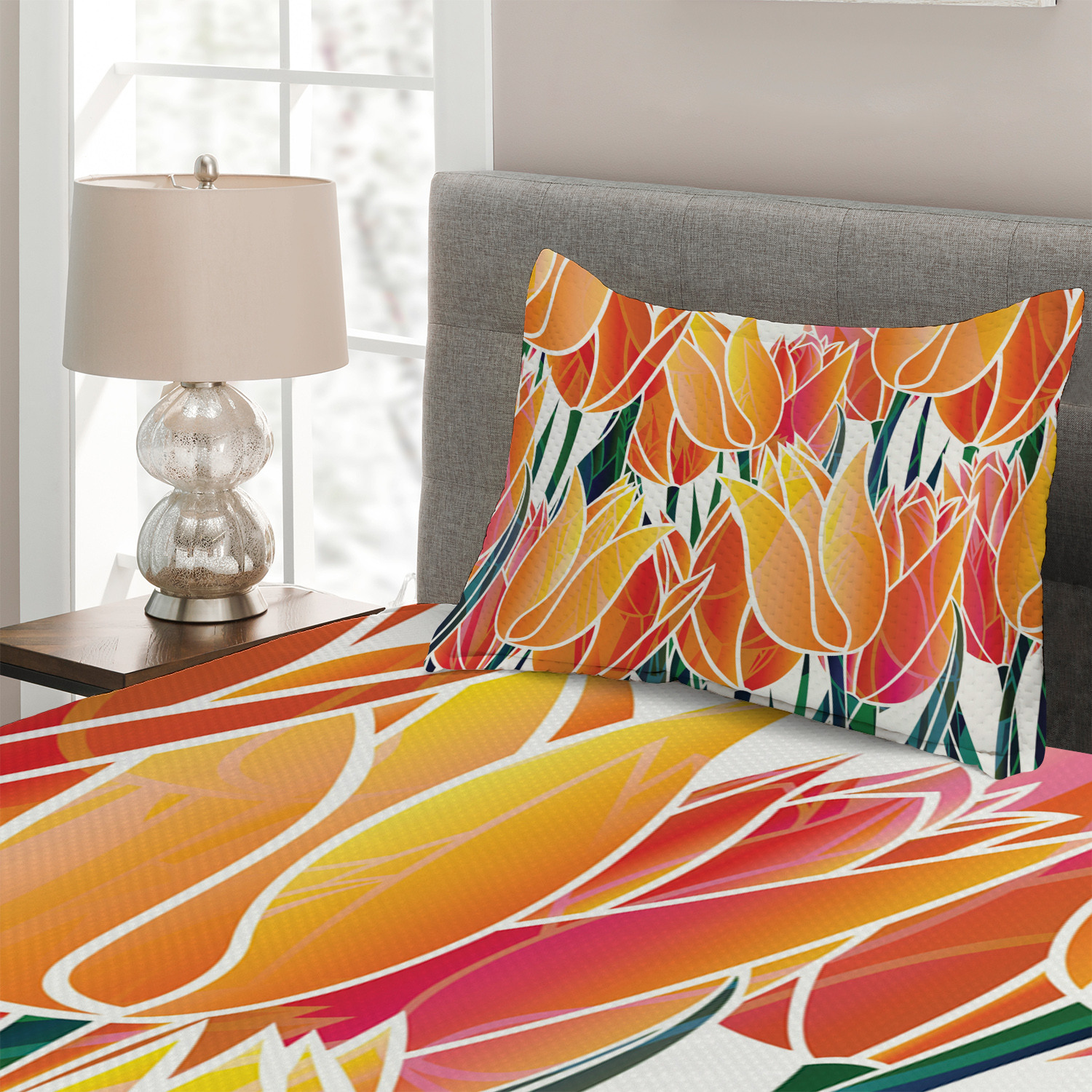 Orange-Quilted-Coverlet-amp-Pillow-Shams-Set-Floral-Tulip-Garden-Print thumbnail 3