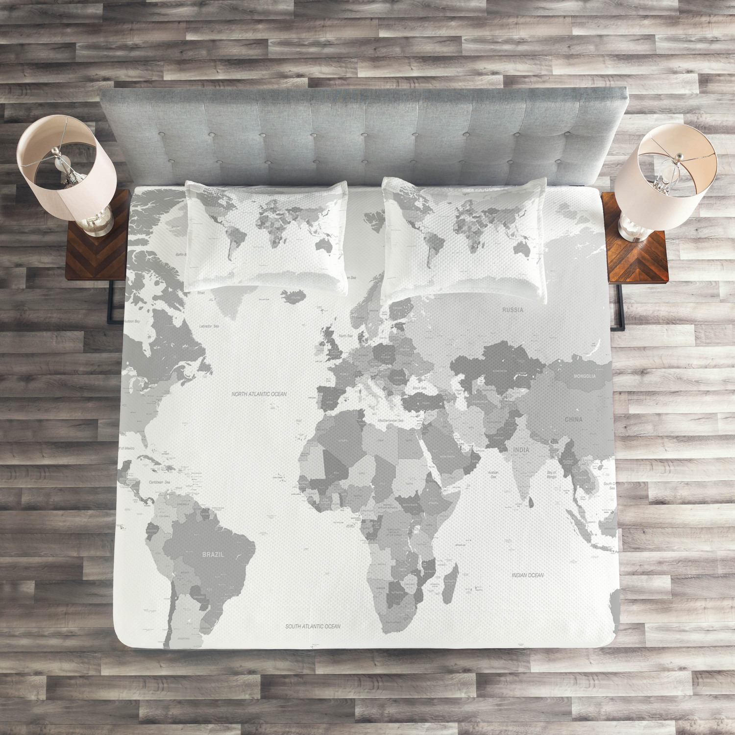Gris Quilted Coverlet & Pillow Shams Set, World Map Map Map Continent Earth Print e6c10f