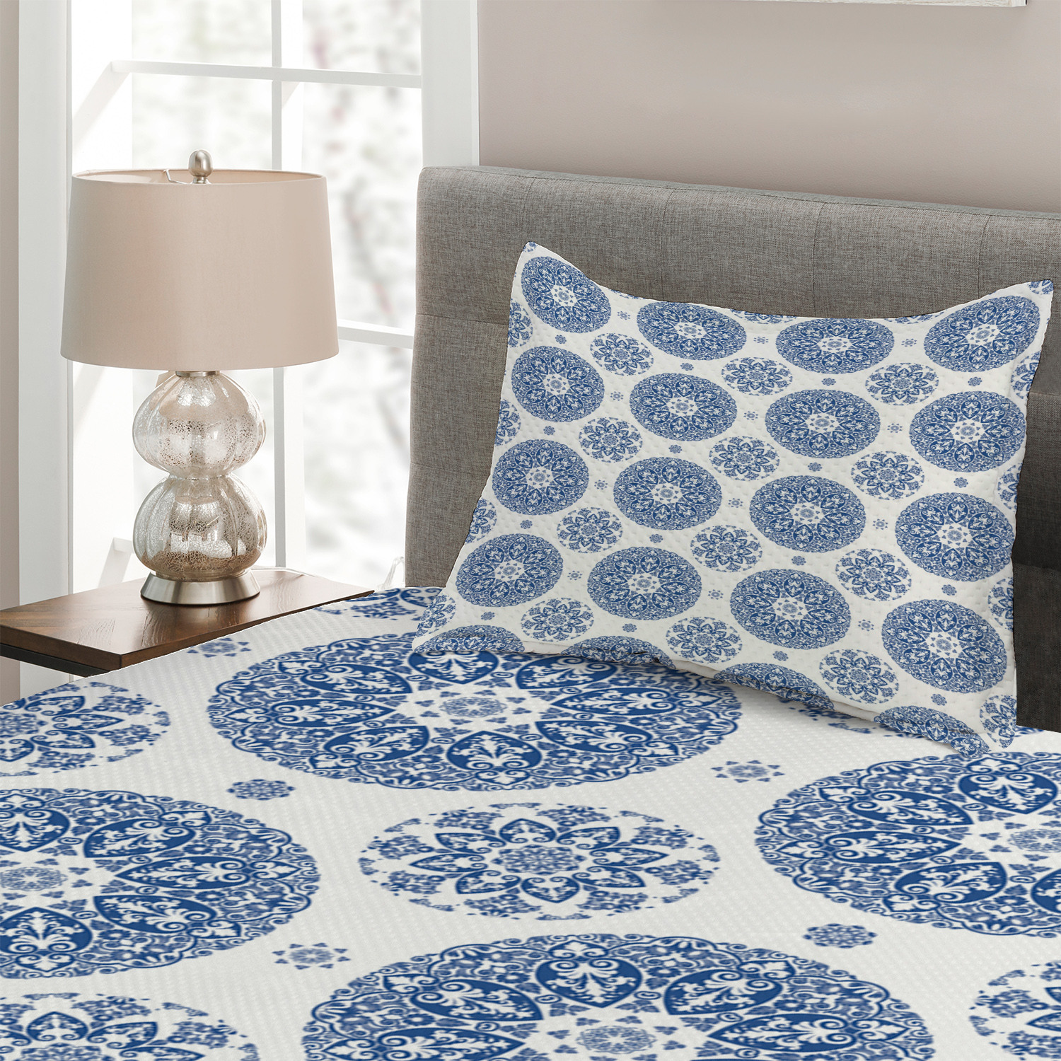 miniature 3 - Paisley Quilted Coverlet & Pillow Shams Set, Vintage French Blue Print