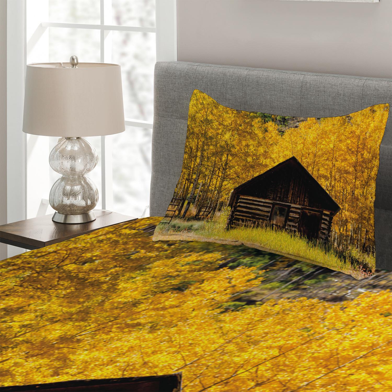 miniature 3 - Autumn Quilted Coverlet & Pillow Shams Set, Farmhouse in Aspen Tree Print