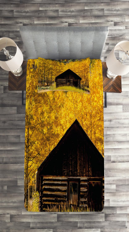 miniature 4 - Autumn Quilted Coverlet & Pillow Shams Set, Farmhouse in Aspen Tree Print