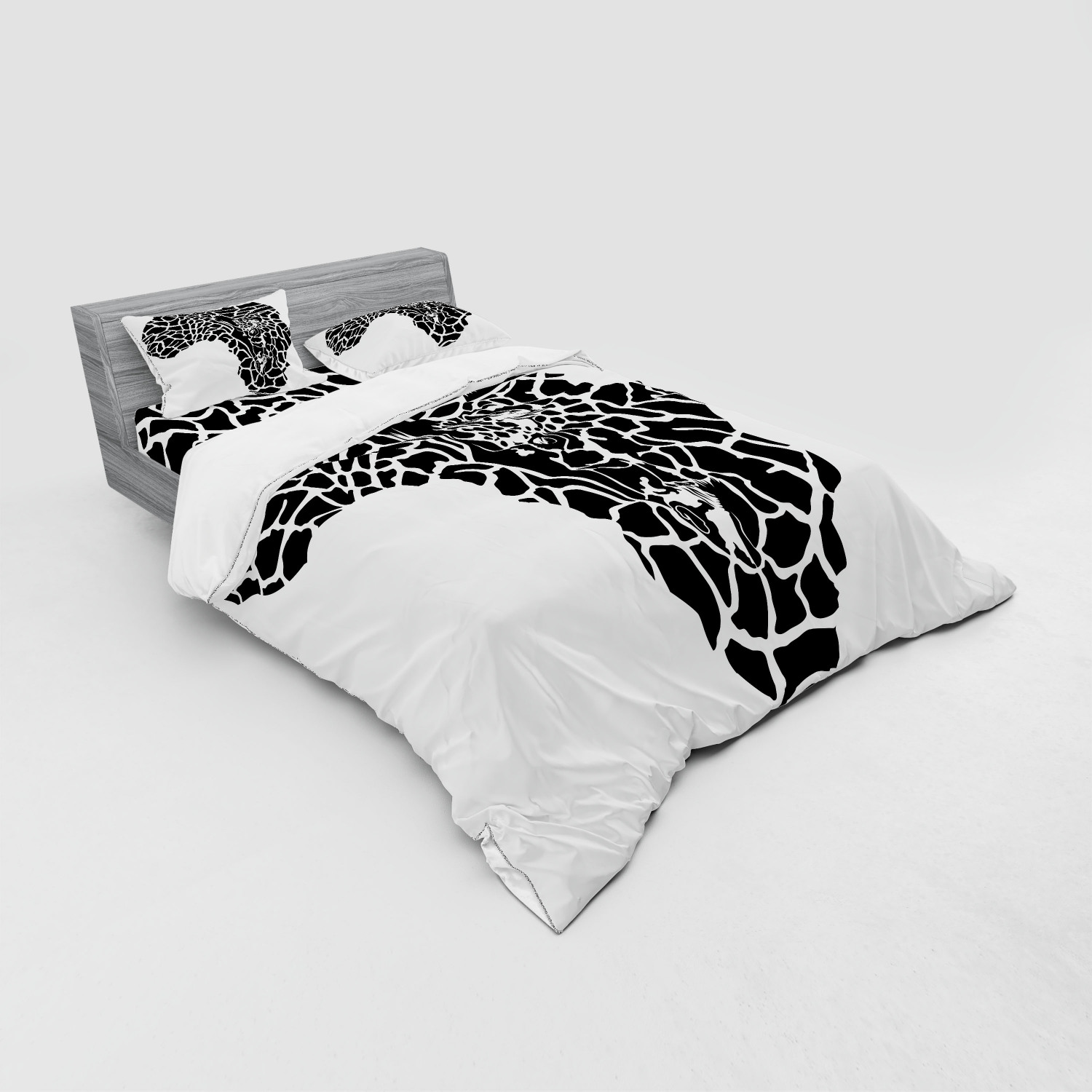 thumbnail 223 - Ambesonne Black White Art Bedding Set Duvet Cover Sham Fitted Sheet in 3 Sizes
