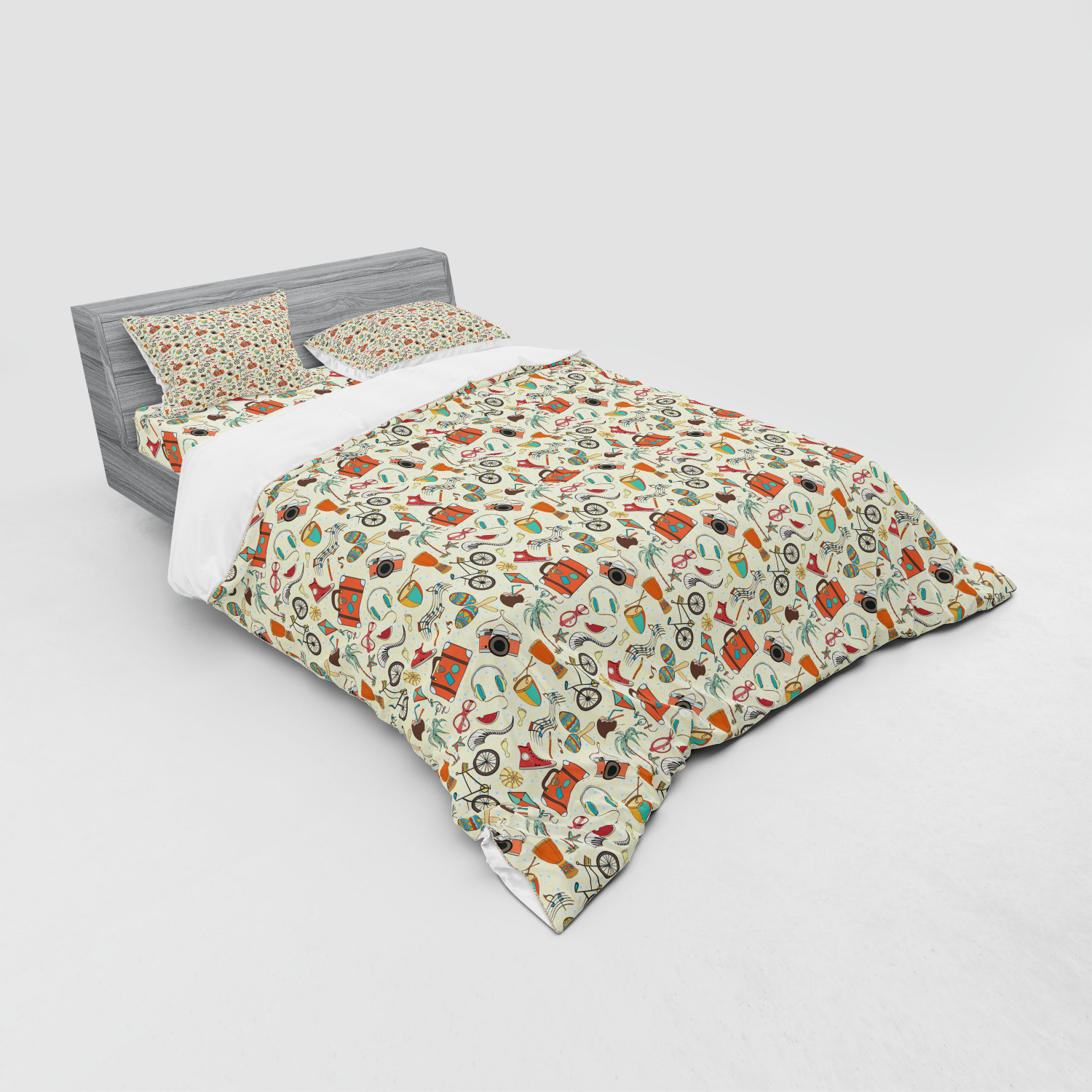 thumbnail 59 - Ambesonne Summer Bedding Set Duvet Cover Sham Fitted Sheet in 3 Sizes