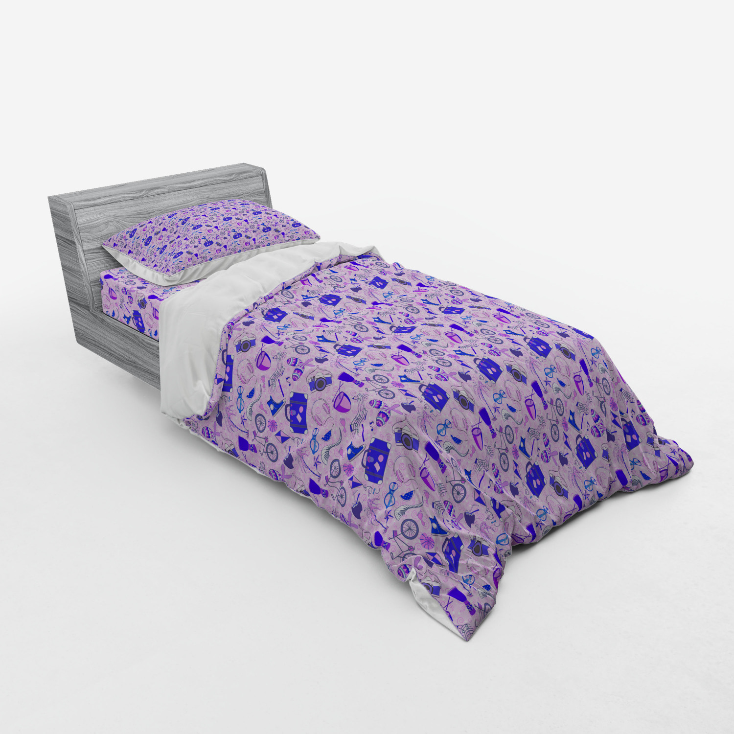 thumbnail 57 - Ambesonne Summer Bedding Set Duvet Cover Sham Fitted Sheet in 3 Sizes