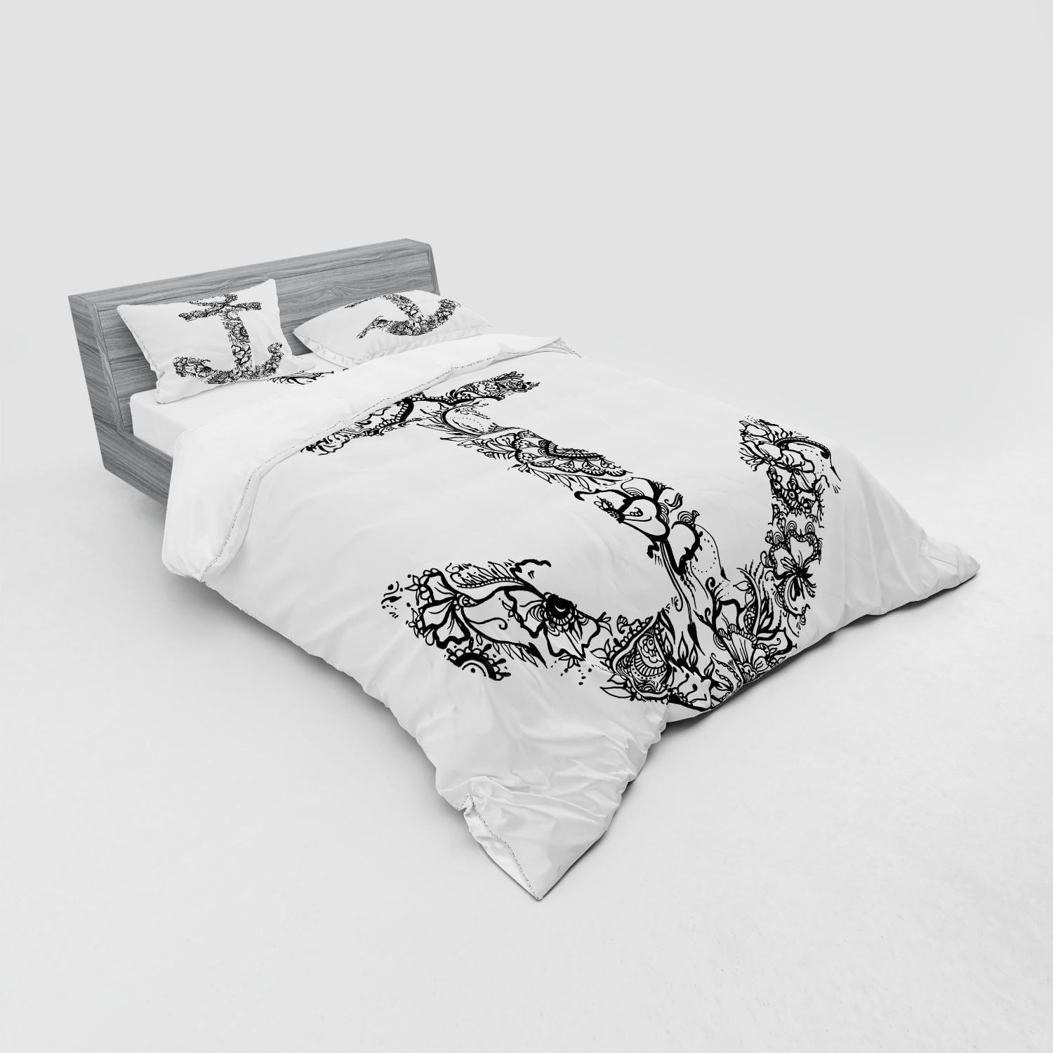 thumbnail 15 - Ambesonne Black White Art Bedding Set Duvet Cover Sham Fitted Sheet in 3 Sizes