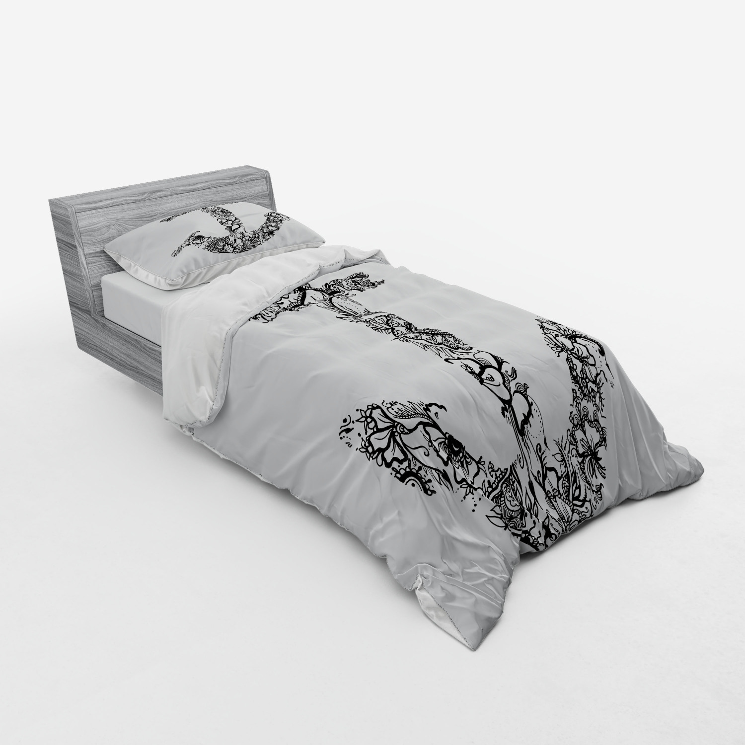 thumbnail 13 - Ambesonne Black White Art Bedding Set Duvet Cover Sham Fitted Sheet in 3 Sizes