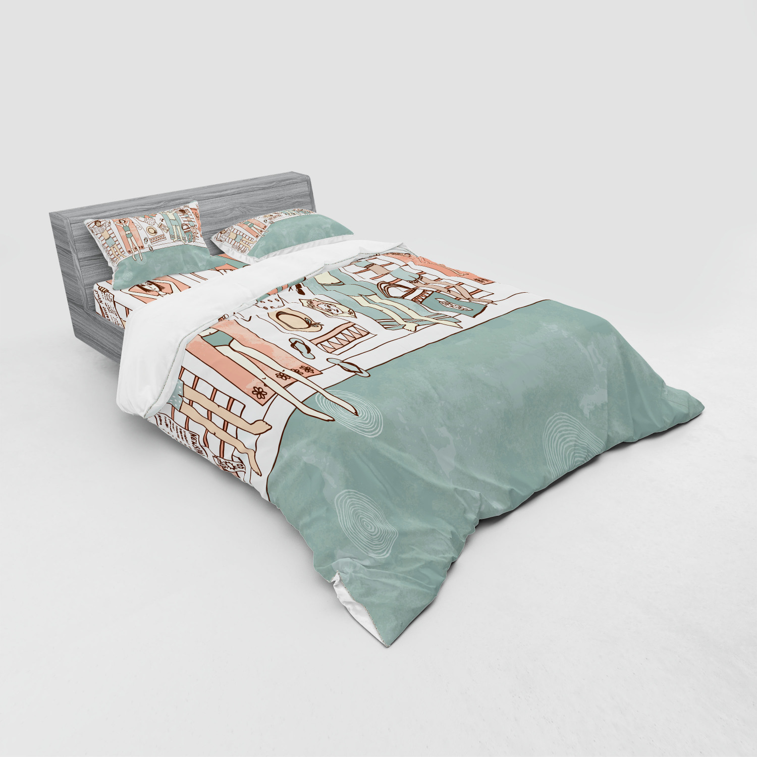 thumbnail 143 - Ambesonne Summer Bedding Set Duvet Cover Sham Fitted Sheet in 3 Sizes