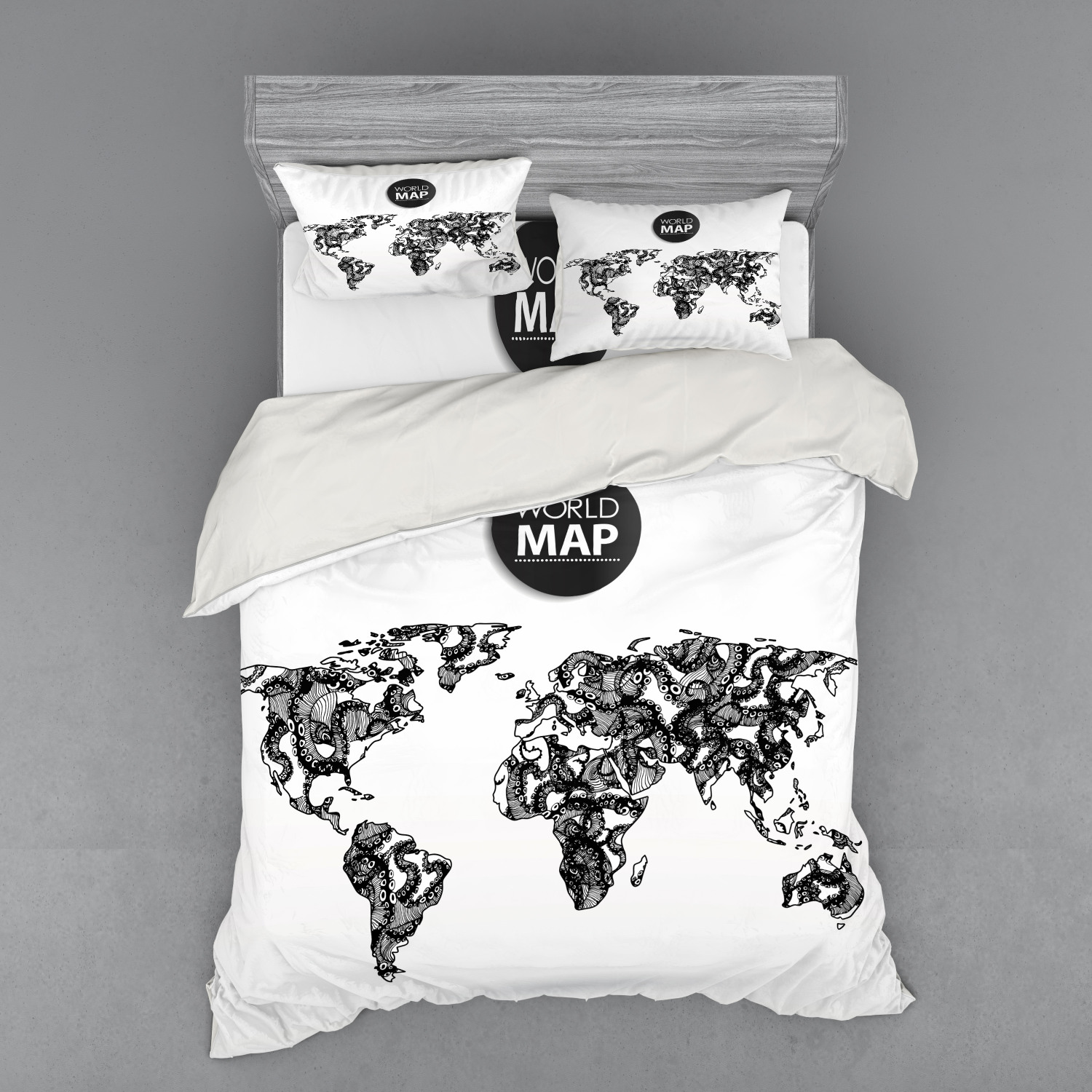 thumbnail 150 - Ambesonne Black White Art Bedding Set Duvet Cover Sham Fitted Sheet in 3 Sizes