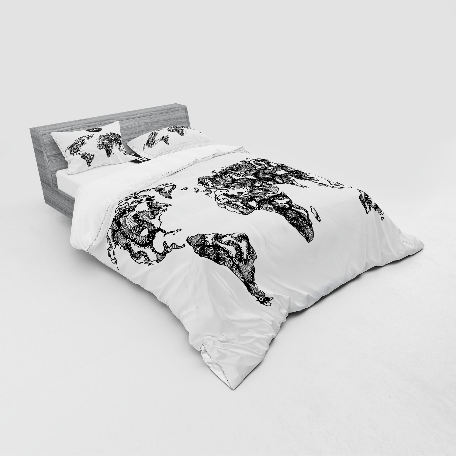 thumbnail 151 - Ambesonne Black White Art Bedding Set Duvet Cover Sham Fitted Sheet in 3 Sizes