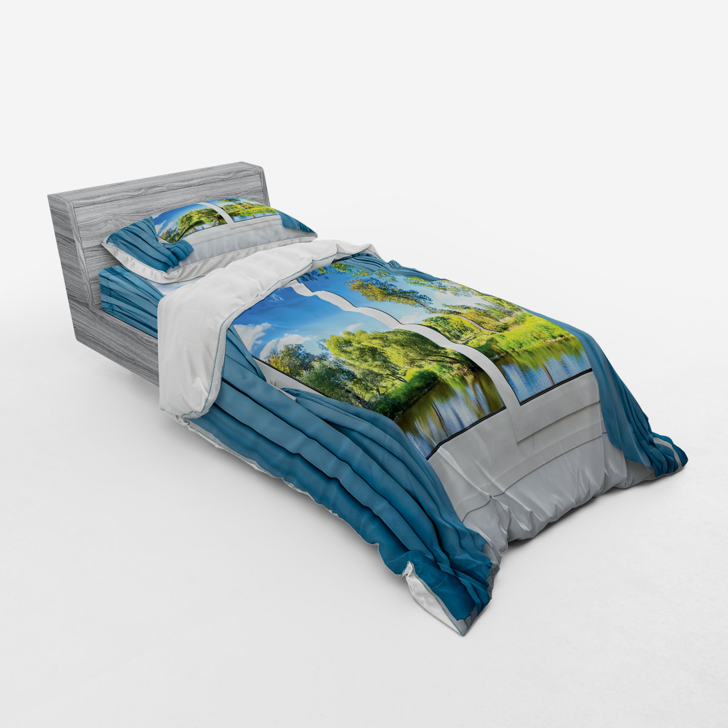 thumbnail 153 - Ambesonne Summer Bedding Set Duvet Cover Sham Fitted Sheet in 3 Sizes