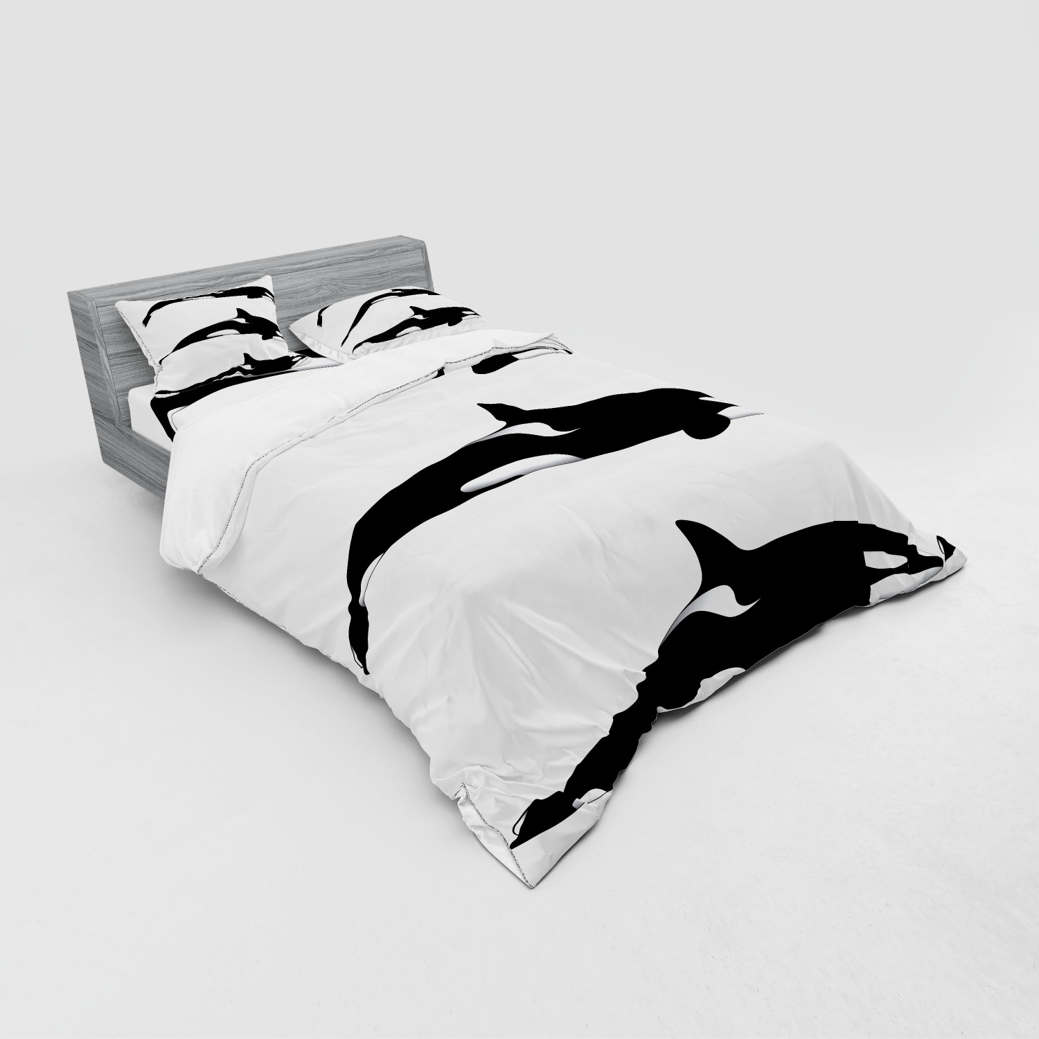 thumbnail 163 - Ambesonne Black White Art Bedding Set Duvet Cover Sham Fitted Sheet in 3 Sizes