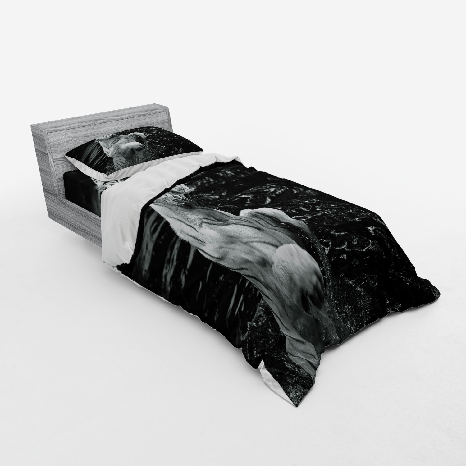 thumbnail 85 - Ambesonne Black White Art Bedding Set Duvet Cover Sham Fitted Sheet in 3 Sizes