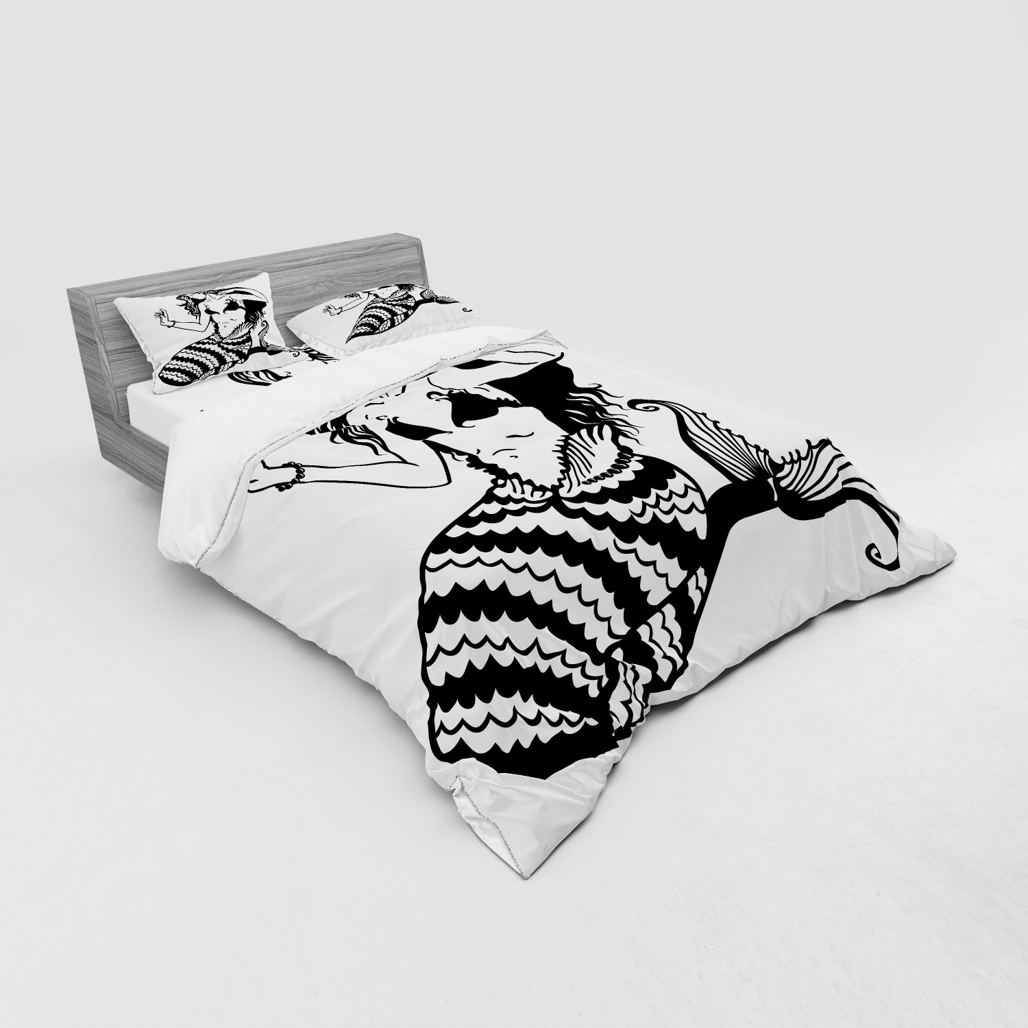 thumbnail 91 - Ambesonne Black White Art Bedding Set Duvet Cover Sham Fitted Sheet in 3 Sizes