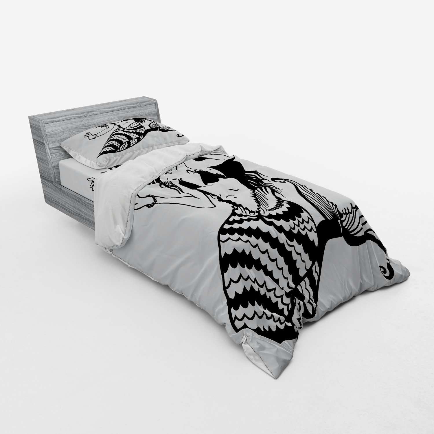 thumbnail 89 - Ambesonne Black White Art Bedding Set Duvet Cover Sham Fitted Sheet in 3 Sizes